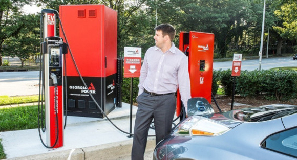 Efacec has provided electric vehicle charging equipment at 11 Georgia Power locations, including this installation at the company's headquarters on Ralph McGill Boulevard in Atlanta. The utility says it will open more than 60 such EV charge islands by the end of 2016.