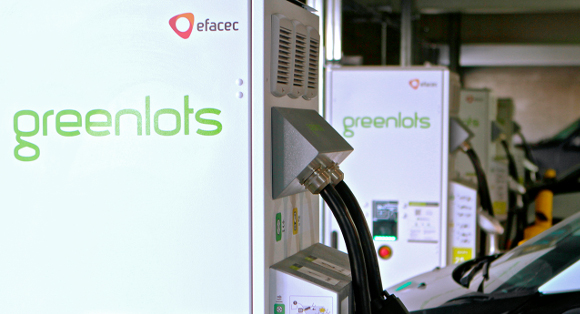 A Greenlots-networked DC Fast-Charge unit – with charging hardware supplied in this instance by Efacec.
